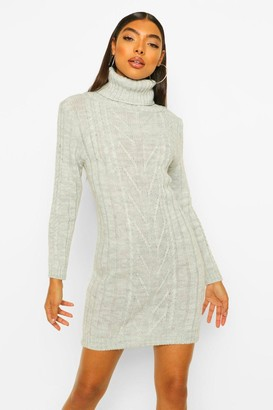 boohoo Tall Cable Knit Roll Neck Dress