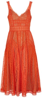 Self-Portrait Orange Guipure Lace Midi Dress