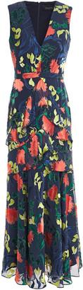 Saloni Lara Ruffled Burnout Chiffon Maxi Dress