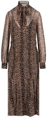 Saint Laurent Pussybow Leopard-Printed Dress