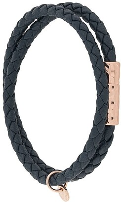 Tateossian Faceted-Clasp Woven Bracelet