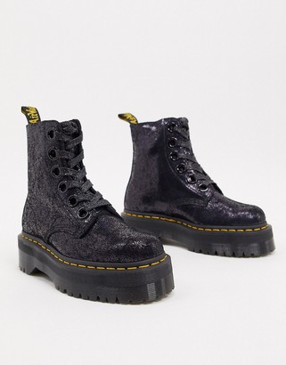Dr. Martens Molly boots in black crackled leather