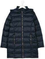 Armani Junior elongated hooded down coat - kids - Feather Down/Polyamide/Polyester/Polyamide-8 - 14 yrs
