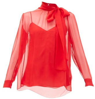 Valentino Pussy Bow Silk Chiffon Blouse - Womens - Red
