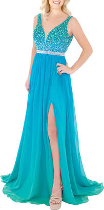 Mac Duggal Empire Waist Sequin Chiffon Gown