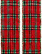 Kurt Adler Woven Traditional Plaid Ribbon 2Pc Set