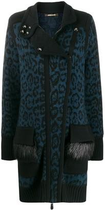 Roberto Cavalli Leopard Print Knit Cardigan