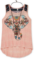 Beautees Graphic High-Low Tank Top with Necklace - Girls 7-16