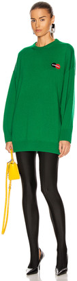 Balenciaga Long Sleeve Crew Neck Sweater in Green | FWRD