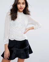 Miss Selfridge Embellished High Neck Blouse