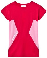 DKNY Red and Pink Logo Print Jersey Dress