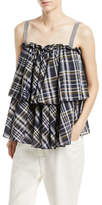 Brunello Cucinelli Sleeveless Dark Plaid-Cotton Tiered Top with Monili Straps