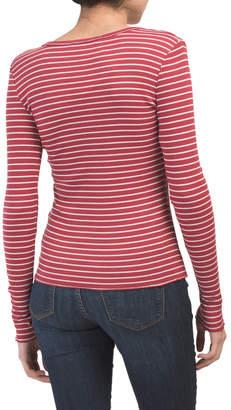 Juniors Rib Button Front Knit Cardigan