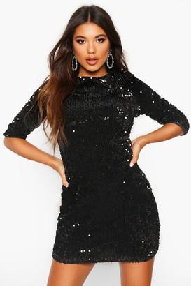 boohoo Sequin Long Sleeve Bodycon Dress
