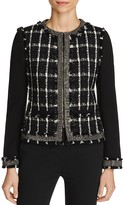 Tory Burch Marisol Embellished Mixed Media Windowpane Jacket