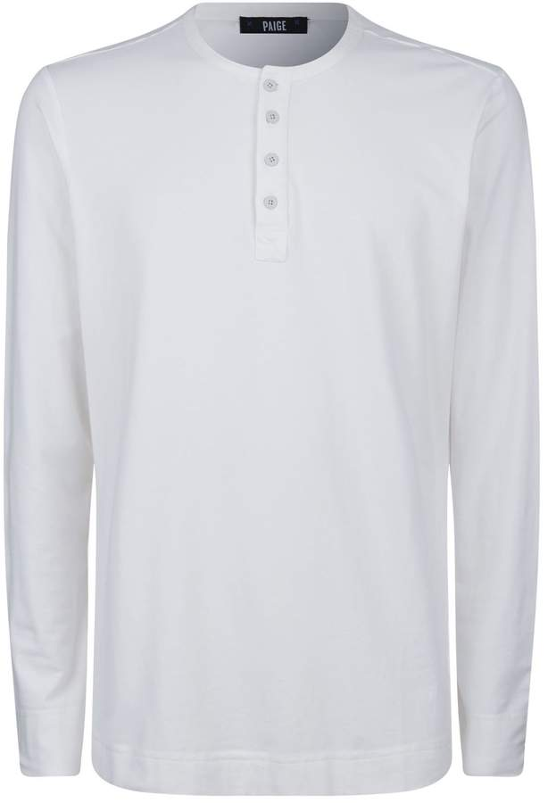 04863bf2be4b Mens White Long Sleeve Henley - ShopStyle