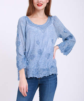 Couture Simply Women's Blouses Blue - Blue Embroidered Scallop-Trim Scoop-Neck Top - Women & Plus