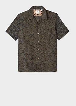 Men's Classic-Fit Khaki 'Cheetah' Print Short-Sleeve Shirt