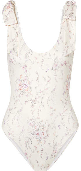 LoveShackFancy Floral-print Swimsuit - White