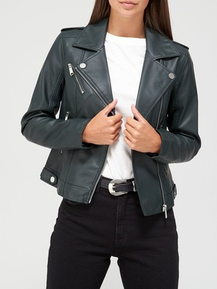 Very Faux Leather PU Jacket - Dark Green