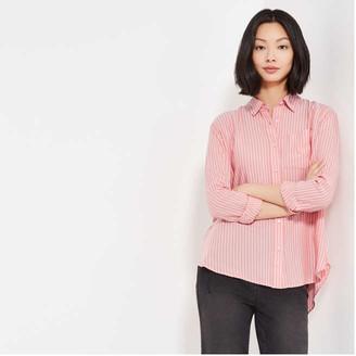 Joe Fresh Women's Stripe Relaxed-Fit Shirt, Coral (Size S)