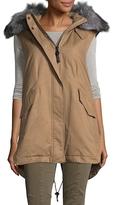 Derek Lam 10 Crosby Drawstring Hem Puffer Fur Vest