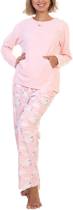 Angelina Women's Sleep Bottoms White - Light Pink Sheep Kangaroo-Pocket Long-Sleeve Pajama Set - Women