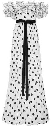 Andrew Gn Off-the-shoulder Ruffled Polka-dot Silk Crepe De Chine Gown