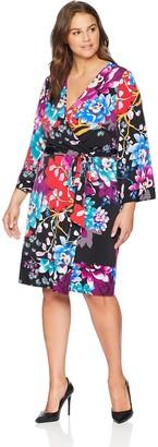 Calvin Klein Women's Plus Size Long Sleeve Wrap Dress with Self Tie
