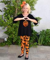 Beary Basics Black Pumpkin Bell-Sleeve Tunic & Cat Leggings - Toddler & Girls