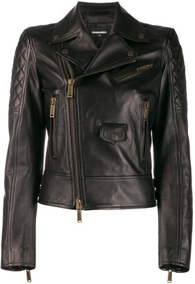 DSQUARED2 Zip Panelled Biker Jacket