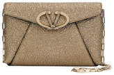 Valentino Garavani V Rivet Metallic Leather Chain Clutch Bag, Gray