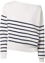 Jason Wu Off-the-shoulder Striped Stretch-knit Sweater - White
