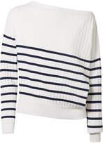 Jason Wu Off-the-shoulder Striped Stretch-knit Sweater