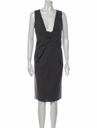 Armani Collezioni Virgin Wool Midi Length Dress Wool
