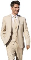 MYS Men's Custom Made Bridegroom Wedding Tuxedo Suit Pants Vest Tie Set Light Beige Size 38R