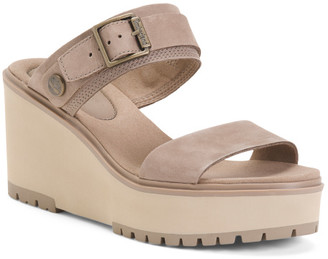 Suede Comfort 2 Band Wedge Sandals