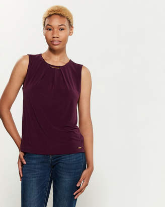 Calvin Klein Hardware Pleated Sleeveless Top