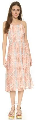 BB Dakota Women's Joy Basket Weave Printed Poly Chiffon Midi Dress