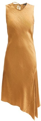 Ann Demeulemeester Asymmetric-hem Crinkled-satin Dress - Gold
