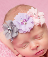 Jean Marie Light Pink & Gray Flower Headband