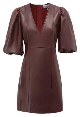 Ganni Balloon-sleeve Leather Mini Dress - Burgundy