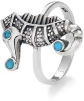 John Greed Sterling Silver & Imitation Turquoise Seahorse Ring