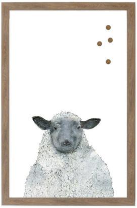 "Petal Lane ""Sheep"" Magnet Board With Brown Frame, 32""x24"""