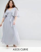 Asos Lace Panelled Flutter Sleeve Maxi Dress