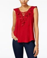 Amy Byer Juniors' Ruffle Lace-Up Tank Top