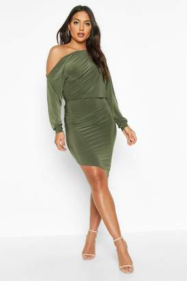 boohoo Off The Shoulder Asymmetric Hem Mini Dress