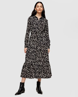 Topshop Tiered Midi Shirt Dress
