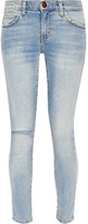 Current/Elliott The High Waist Stiletto Distressed Skinny Jeans - Light denim