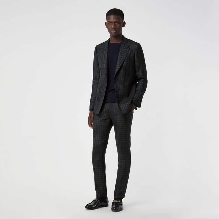 Burberry Slim Fit Tartan Wool Tailored Jacket